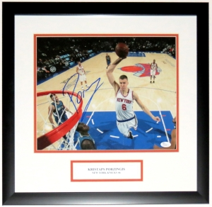 KRISTAPS PORZINGIS SIGNED NEW YORK KNICKS 11X14 PHOTO - JSA AUTHENTICATED COA - PROFESSIONALLY FRAMED