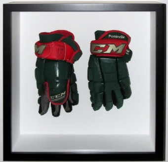 Full Size Hockey Gloves Framed In Custom Shadowbox