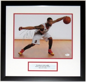 Damian Lillard Signed Portland Trailblazers 11x14 Photo - JSA COA Authenticated - Professionally Framed & Plate