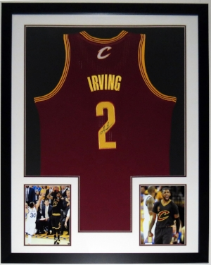Kyrie Irving Signed Jersey - BSI COA Authenticated - Custom Framed with 2 8x10 Photos 34x42
