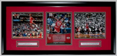 Michael Jordan Signed Chicago Bulls Upper Deck Authenticated 8x10 Photo Compilation - UDA COA - Custom Framed 32x16