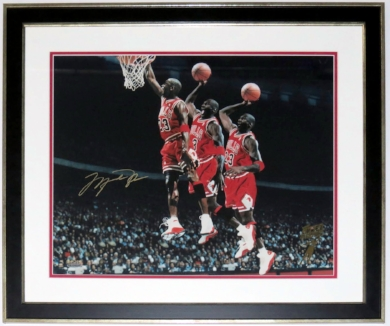 Michael Jordan Autographed Chicago Bulls 16x20 Photo - Upper Deck Authenticated UDA COA - Custom Framed