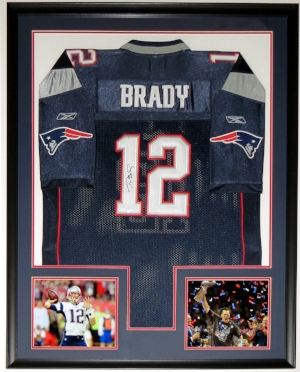Tom Brady Signed Reebok New England Patriots Jersey - Mounted Memories COA - Professionally Framed & 2 Super Bowl 51 Photo - 34x42