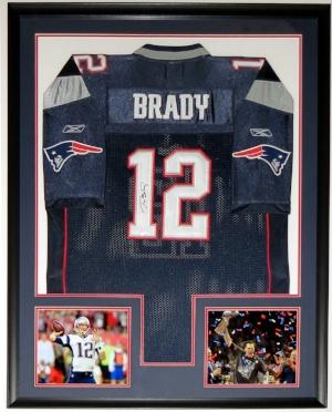 Tom Brady Signed Reebok New England Patriots Jersey - Mounted Memories COA - Professionally Framed & 2 Super Bowl 51 Photo - 34x42