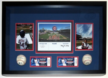 Baseball Photograph and Ticket 1st Game Compilation Custom Shadowbox