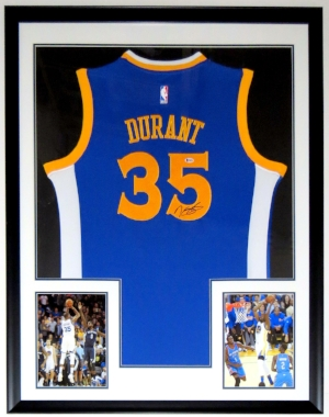 Kevin Durant Signed Nike Golden State Warriors NBA Finals Jerseys - PSA DNA COA Authenticated - Professionally Framed & 2 8x10 Photo 34x42