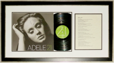 Adele Signed 21 Album & Lyric Sheet - JSA COA Authenticated - Professionally Framed 32x18