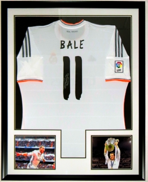 Gareth Bale Signed Adidias Real Madrid Jersey - JSA COA Authenticated - Professionally Framed & 2 8x10 Photo 34x42