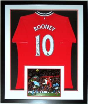 Wayne Rooney Signed Adidias Manchester United Jersey - JSA COA Authenticated - Professionally Framed & 11x14 Photo 34x42