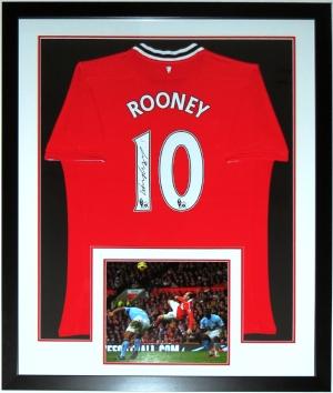 Wayne Rooney Signed Adidias Manchester United Jersey - JSA COA Authenticated - Professionally Framed & 11x14 Photo 34x42