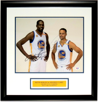 Kevin Durant & Stephen Curry Dual Signed Golden State Warriors 11x14 Photo - PSA DNA COA Authenticated - Professionally Framed & Plate