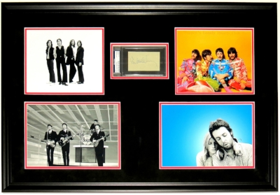 Paul McCartney Signed Beatles Photograph Compilation - PSA DNA COA Authenticated - Professionally Framed 32x22