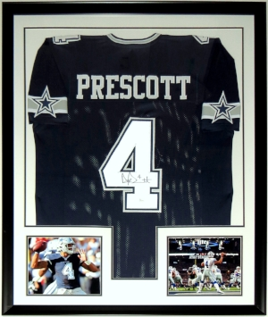 Dak Prescott Signed Nike Dallas Cowboys Jersey - JSA COA Authenticated - Professionally Framed & 2 8x10 Photo - 34x42