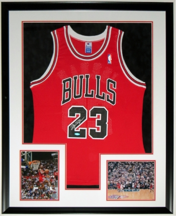 Michael Jordan Signed Chicago Bulls Jersey - Upper Deck Authenticated UDA COA - Professionally Framed & 2 8x10 Photo 34x42
