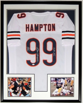 Dan Hampton Signed Chicago Bears Jersey - JSA COA Authenticated - Professionally Framed & 2 8x10 Photo 34x42