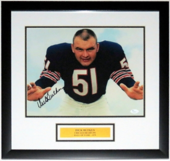 Dick Butkus Signed Chicago Bears 11x14 Photo JSA COA Authenticated - Professionally Framed & Plate