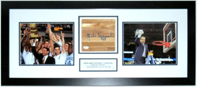 Mike Krzyzewski Signed Duke Court and 8x10 Photo Compilation - JSA COA Authenticated - Professionally Framed & Plate 34x16