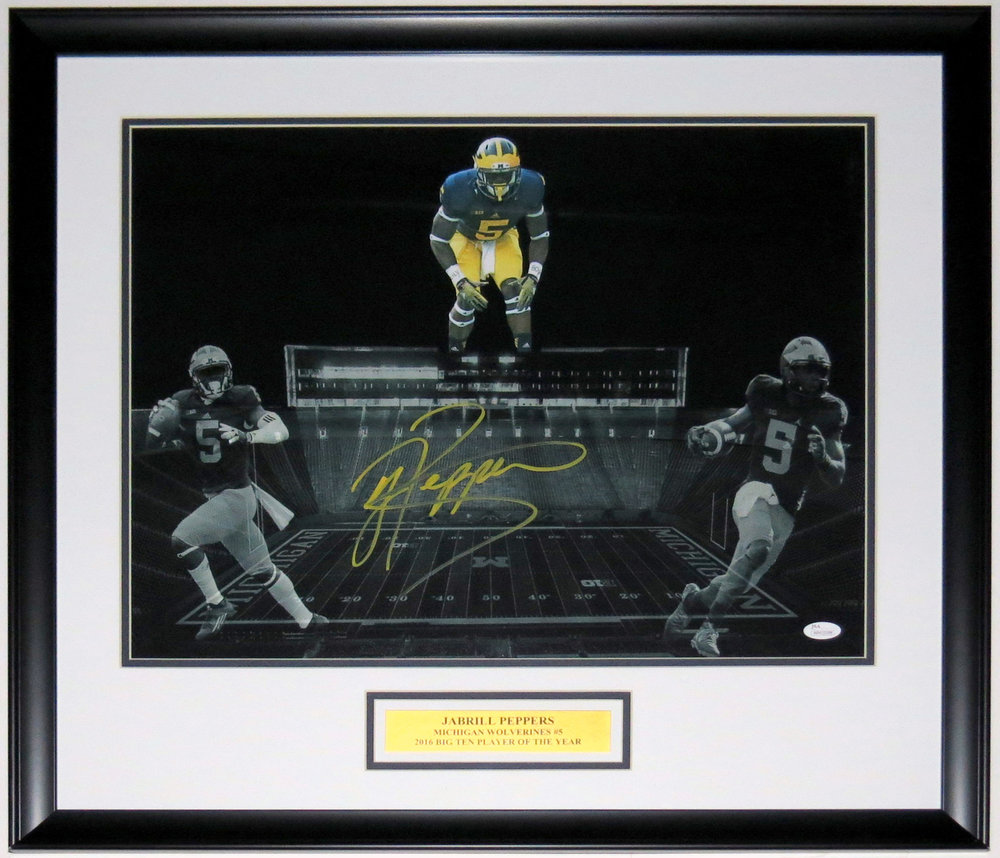 Jabrill Peppers Signed Michigan Wolverines 16x20 Photo - PSA DNA COA Authenticated - Professionally Framed & Plate