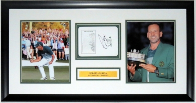 Sergio Garcia Signed Masters Scorecard & 8x10 Photo Compilation - JSA COA Authenticated - Prfoessionallt Framed & Plate 32x16