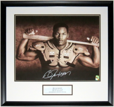 Bo Jackson Signed Bo Knows Nike 16x20 Photo - B.J. COA Authenticated - Professionally Framed & Plate