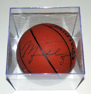 Michael Jordan Autographed Spaulding NBA Basketball - Chicago Bulls Letter of Authenticity - Includes Ultra Pro Display Case