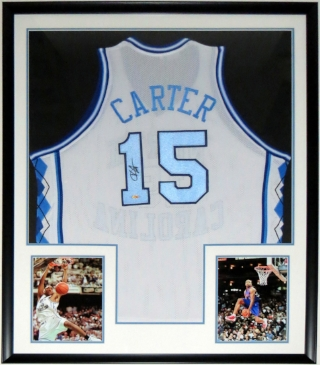 Vince Carter Signed North Carolina Tar Heels Jersey - Mounted Memories COA Authenticated - Professionally Framed & 2 8x10 Photo 34x42