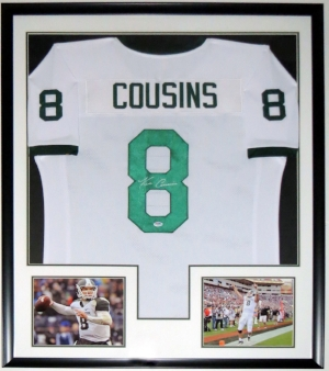 Krik Cousins Signed Michigan State Spartans Jersey - PSA DNA COA Authenticated - Professionally Framed & 2 8x10 Photo 34x42