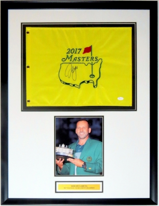 Sergio Garcia Signed 2017 Masters Pin Flag - JSA COA Authenticated - Professionally Framed & 8x10 Photo & Plate 34x32