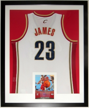 LeBron James Signed Nike Cavaliers Jersey & 8x10 Photo Compilation - Upper Deck Authenticated UDA COA - Professionally Framed 34x42