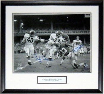 Mike Ditka & Gale Sayers Signed Chicago Bears 16x20 Photo - BAS Beckett Authenticated COA - Professionally Framed & Plate