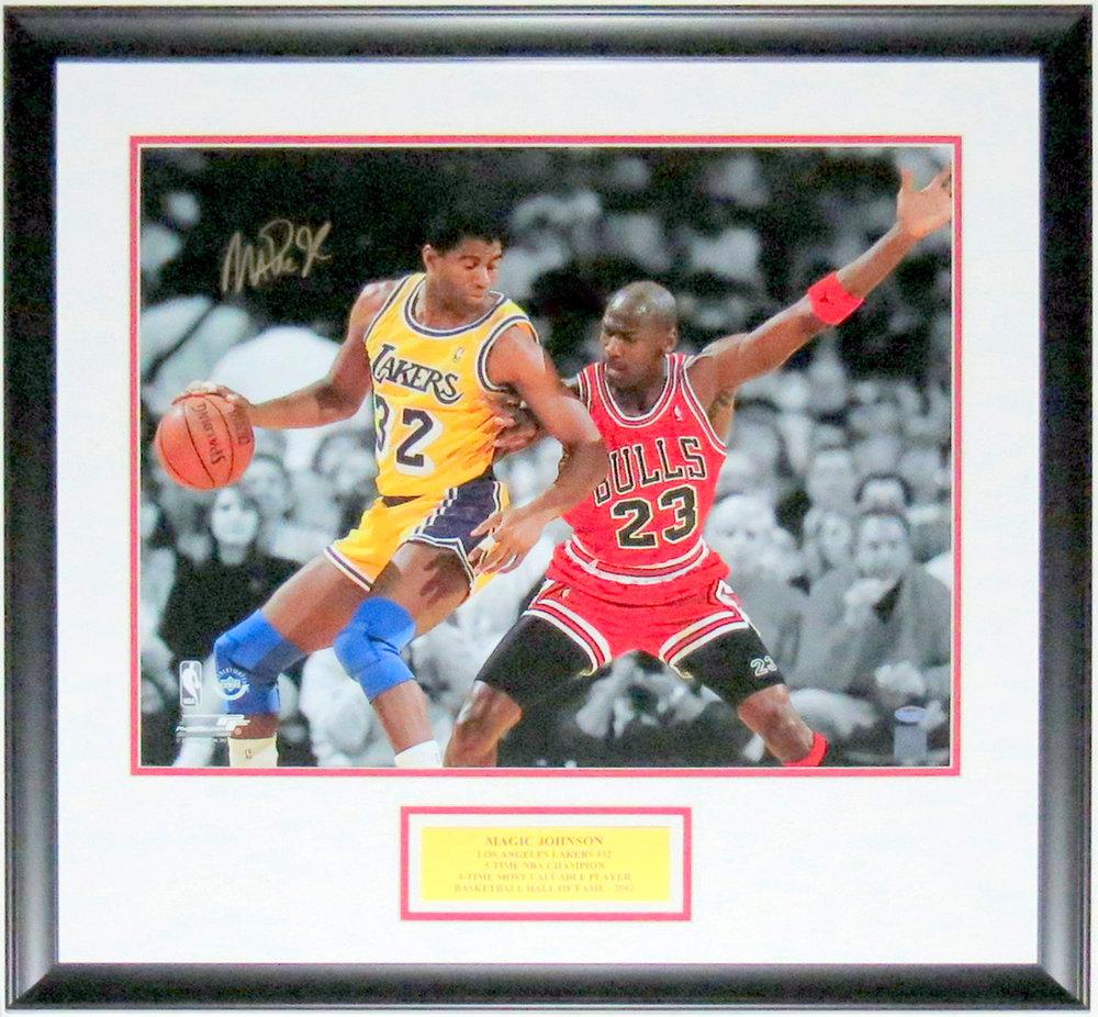 Magic Johnson with Michael Jordan Signed 16x20 Photo - BSI COA Authenticated - Professionally Framed