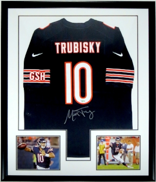 Mitchell Trubisky Autographed Nike Chicago Bears Jersey - Fanatics COA Authenticated - Professionally Framed & 2 8x10 Photo 34x42