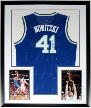 Dirk Nowitzki Signed Nike Dallas Mavericks PSA DNA COA Authenticated - Professionally Framed & 2 8x10 Photo 34x42