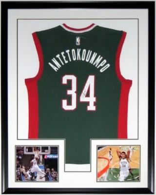 Giannis Antetokounmpo Signed Milwaukee Bucks Jersey - His COA - Professionally Framed & 2 8x10 Photo - 34x42