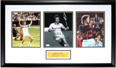 John McEnroe Signed 8x10 Photo Career Compilation - JSA COA Authenticated - Custom Framed & Plate 34x16