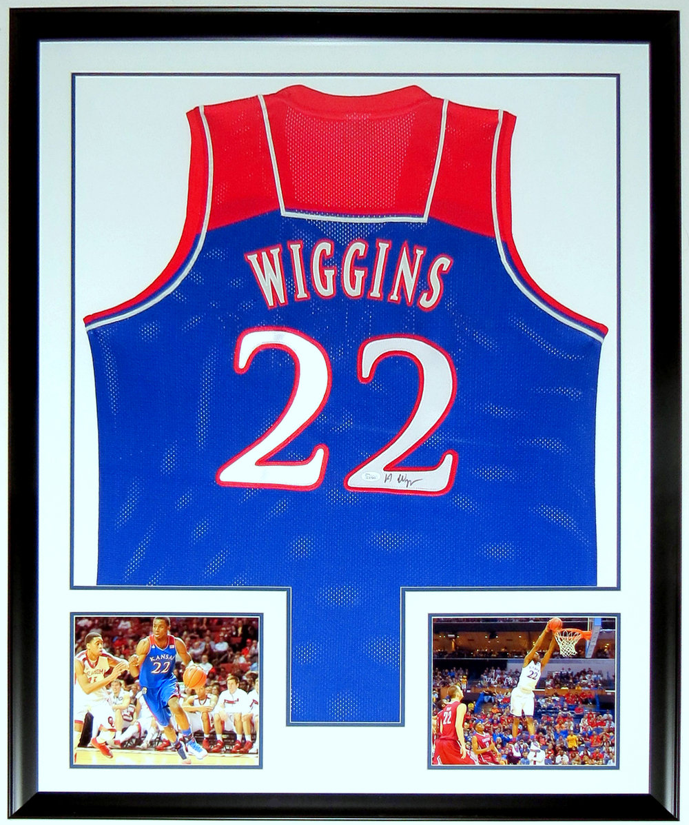 Andrew Wiggins Autographed Kansas Jayhawks Jersey - JSA COA Authenticated - Professionally Framed & 2 8x10 Photo 34x42
