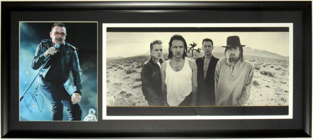 Bono Autographed 11x14 Tour Photo & U2 Joshua Tree Album - PSA DNA COA Authenticated - Professionally Framed 34x16