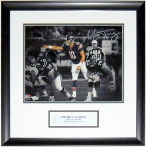 Mitchell Trubisky Autographed Chicago Bears 11x14 Photo - FANATICS COA Authenticated - Professionally Framed & Plate