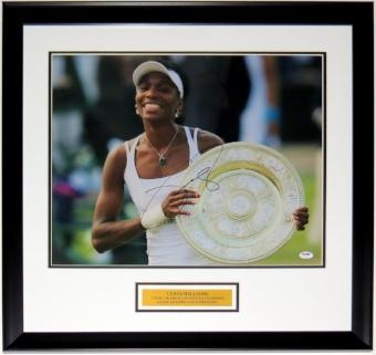 Venus Williams Autographed Wimbledon 16x20 Photo - PSA DNA COA Authenticated - Custom Framed & Plate