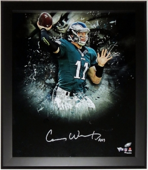 Carson Wentz Signed Philadelphia Eagles 18x24 Photo - Fanatics COA - Professionally Framed