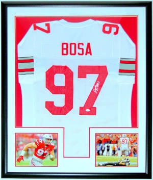 Joey Bosa Signed Ohio State Buckeyes Jersey - JSA COA Authenticated - Professionally Framed & 2 8x10 Photo 34x42