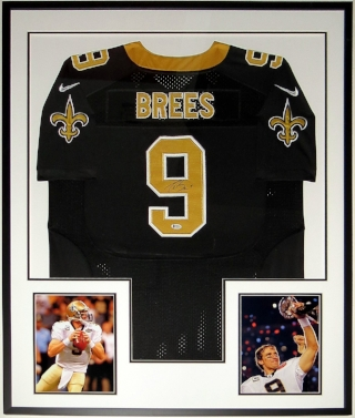 Drew Brees Signed New Orleans Saints Nike Jersey - Beckett Authentication Services COA - Custom Framed & 2 Super Bowl 8x10 Photo 34x42