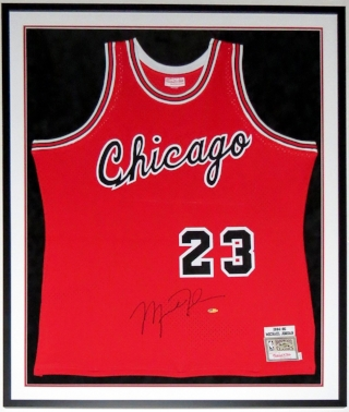 Michael Jordan Signed Mitchell and Ness Chicago Bulls 1984-85 Jersey - UIpper Deck Authenticated UDA COA - Professionally Framed