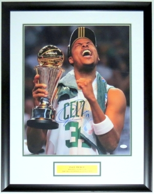 Paul Pierce Signed 2008 Boston Celtics NBA Championship 16x20 Photo - JSA COA Authenticated - Professionally Framed & Plate