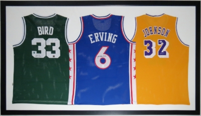 Larry Bird Julius Erving Magic Johnson Triple Signed Jersey Compilation - BSI COA - Professionally Framed 76x42