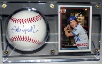 Eddie Vedder Autographed Baseball and Pearl Jam Chicago Trading Card - Beckett Authenticated and Display
