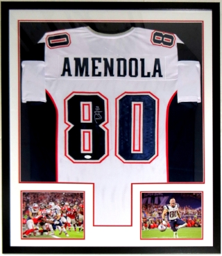 Danny Amendola Signed New England Patriots Jersey - JSA COA Authenticated - Professionally Framed & 2 Super Bowl 51 8x10 Photo 34x42