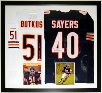 Dick Butkus & Gale Sayers Signed Chicago Bears Jerseys - BSI COA Authenticated - Professionally Framed 44x34