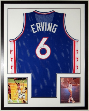 Julius Erving - Dr. J. - Signed Philadelphia 76'ers Jersey - JSA COA Authenticated - Professionally Framed with 2 8x10 Photographs 34x42