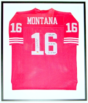 Joe Montana Signed San Francisco 49'ers Jersey & HOF 2000 4X SB CHAMPS 3X SB MVP Inscriptions - Montana COA Authenticated - Professionally Framed 34x42